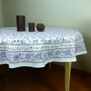 "Set of Provencal Round Cotton Tablecloth White ""Country"" and 6 napkins"