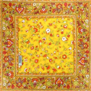 "Square Quilted Table Mat Yellow ""Country"" 30x30"