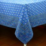 "Provencal Rectangle Cotton Tablecloth Blue ""Flowers"" 63"" x 79"