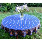 "Provencal Round Cotton Tablecloth blue ""Farandole"
