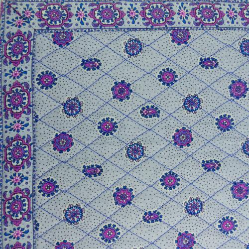 "Provencal quilted table runner ""Mistraou"" Mauve 18x40 inch"