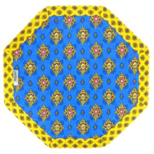 "Octogonal Reversible Quilted Cotton Placemat Blue ""Batiste"""