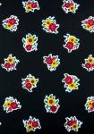"""Black Flowers"", 100% French country cotton fabric 55"""