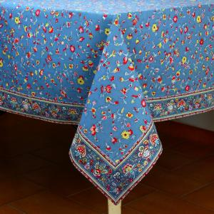 "Provencal Rectangle Cotton Tablecloth Blue ""Country"" 63"" x 79"