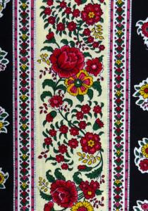 "Black Flowers"", French country cotton fabric precut stripe 5,2"