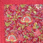 "Square French Table Mat Red ""Colombes"" pattern"