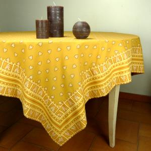 "Provencal Square Cotton Tablecloth ocher ""Roussillon"