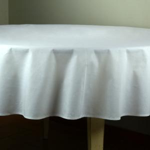 Provencal Round Cotton Tablecloth plain White 71 inches