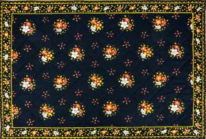"Provencal Quilted Cotton Placemat Black ""Farandole"" 12x18"