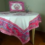 "Square Cotton Tablecloth Raspberry pattern Haveli"" 63""x63"