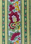 """Green Floral"", French Border Stripe Fabric 67"""