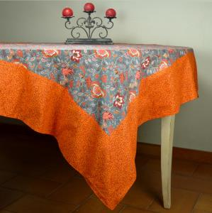 "Provencal Rectangle Cotton Tablecloth Anthracite ""Colombes"