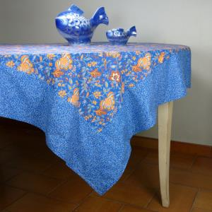 "Provencal Square Cotton Tablecloth blue ""Colombes"