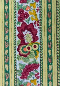 """Green Floral"", French Border Stripe Fabric 67"
