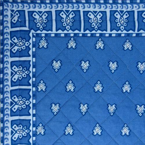 "Provencal Blue quilted table runner ""Roussillon"" 18x40 inch"