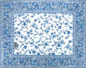 French Country Cotton Placemat White/Blue14x18''
