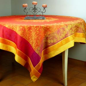 Square French Jacquard Orange Tablecloth Yellow Epis 69x69 inches