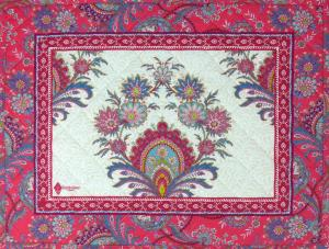 "French Quilted Cotton Raspberry Placemat ""Haveli"" 14x18''"