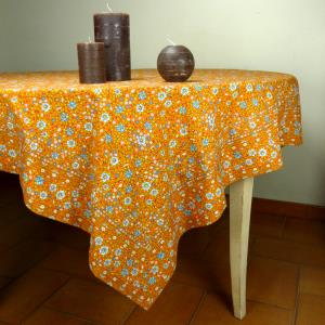 "Provencal Square Cotton Tablecloth orange ""Spring"