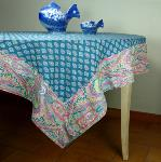 "Provencal Rectangle Cotton Tablecloth Emerald ""Calissons"