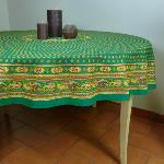 "Provencal Round Cotton Tablecloth Green ""Bastidin"