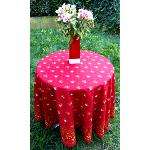 "Provencal Round Cotton Tablecloth red ""Farandole"