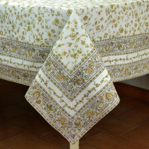 "Provencal Rectangle Cotton Tablecloth Beige ""Country"" 63"" x 79"