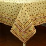 "Provencal Rectangle Cotton Tablecloth Beige ""Honeymoon"" 63"" x 79"