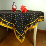 "Provencal Rectangle Cotton Tablecloth black ""Epis"