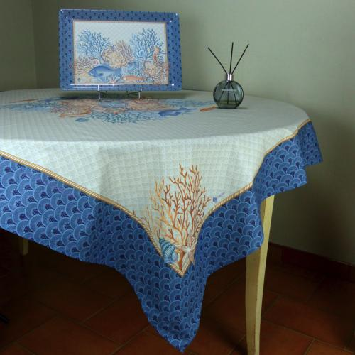"Square Cotton Tablecloth Blue pattern Recif 63""x63"""