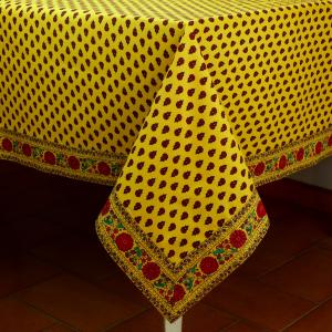 "Provencal Square Cotton Tablecloth Yellow ""Sities"" pattern 63"" x 63"