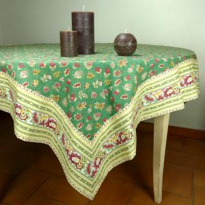 "Provencal Square Cotton Tablecloth green ""Floral"" pattern"