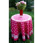 "Pink Round Cotton Tablecloth ""Floral"