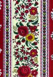 """Red Flowers"", French country cotton fabric precut stripe 5,2"""