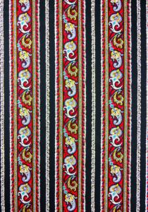"""Red Cashmere"", French Border Stripe Fabric 55"