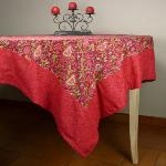 "Provencal Rectangle Cotton Tablecloth Red ""Colombes"