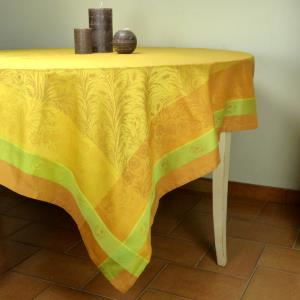 "Set of Square French Jacquard Yellow Tablecloth ""Epis"" and 4 napkins"