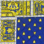 "Provencal Quilted Square Table Mat Blue ""Bees"""