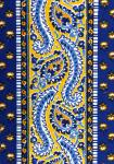 """Blue/Yellow Comet"", Provencal cotton fabric precut stripe 4,4"""