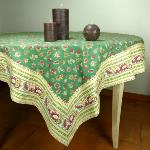 "Provencal Square Cotton Tablecloth green ""Floral"