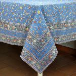 "Provencal Rectangle Cotton Tablecloth Light blue Country 63""x79"""