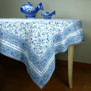 60x60 Square Tablecloth White/Blue - Cotton
