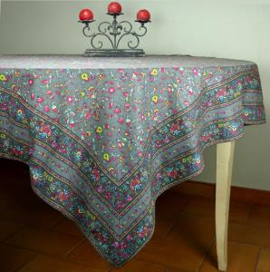 "Provencal Rectangle Cotton Tablecloth anthracite ""Country"