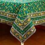 "Provencal Square Cotton Tablecloth Green ""Country"" 71"" x 71"