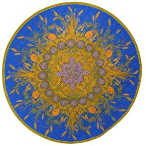 "Provencal Quilted Round Table Mat Blue ""Épis"" 31,5"