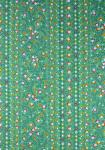 """Green Flowers"", French Border Stripe Fabric 67"