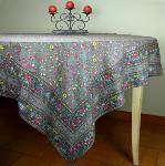 "Provencal Square Cotton Tablecloth Anthracite ""Country"